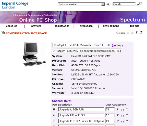 Imperial College PC Shop - Admin